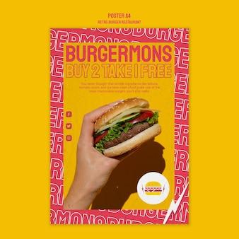 Stile di poster ristorante hamburger retrò