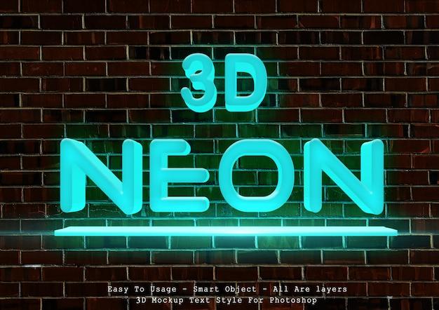 Stile di testo al neon blu 3d