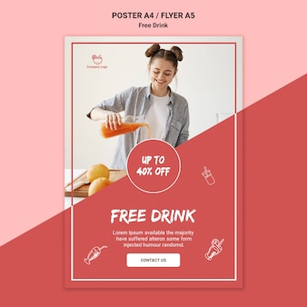 Stile volantino bevanda gratuita