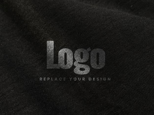 Stof canvas print scherm logo mockup realistisch