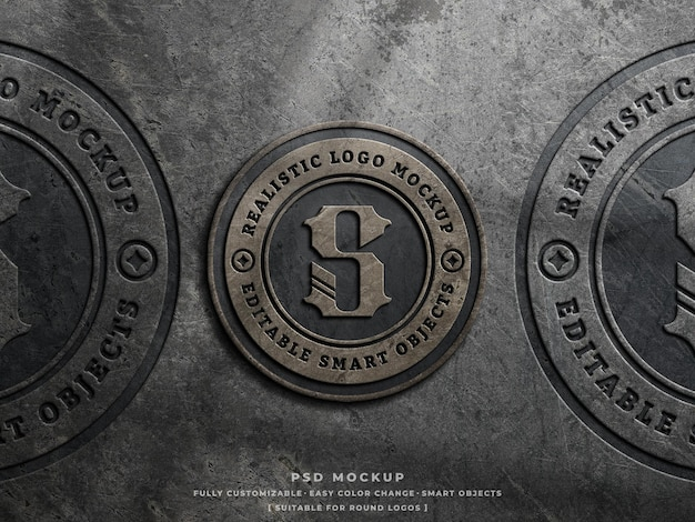 Stoffige betonnen logo mockup op ruwe muur vintage gegraveerd logo mockup