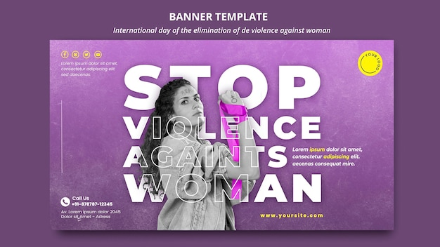 Stop geweld tegen vrouwenbanner met foto