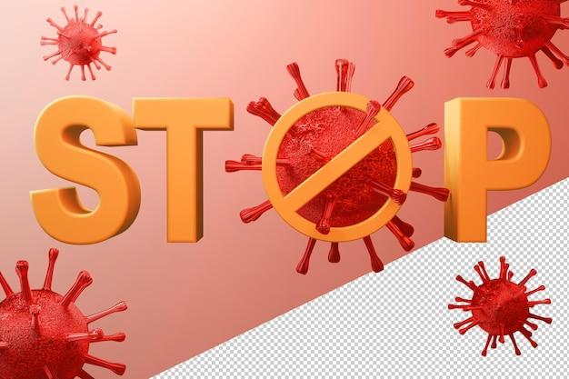 Stop het covid-19-virus in 3d-rendering concept