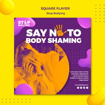Stop met body shaming vierkante flyer print sjabloon