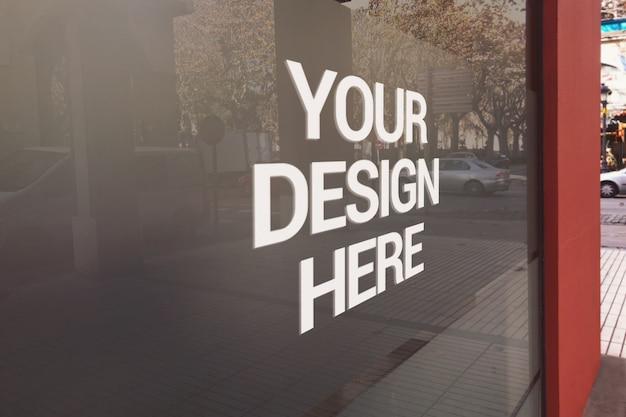 Store glass logo mockup