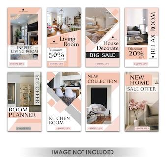 Storia di instagram o banner verticale per l'interior design delle vendite di mobili