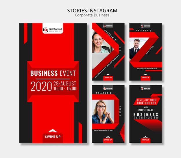 Storie astratte di instagram di affari
