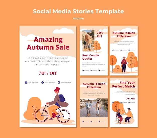 Storie d'autunno sui social media