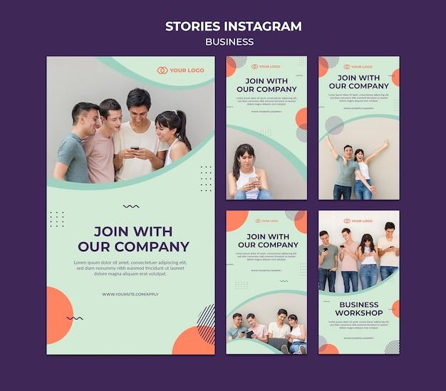 Storie del instagram di concetto dell'officina di affari