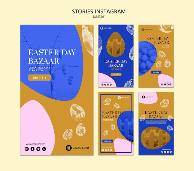 Storie di concetto di pasqua instagram mock-up