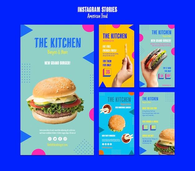 Storie di instagram cibo americano