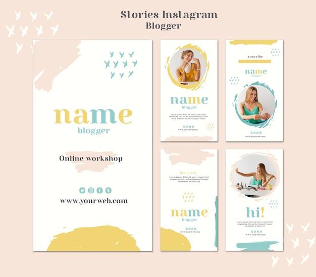 Storie di instagram concept di blogger