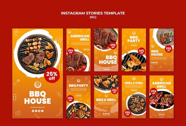 Storie di instagram di barbecue americano e grill house