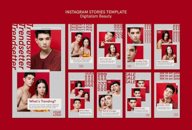 Storie di instagram di bellezza del digitalismo creativo