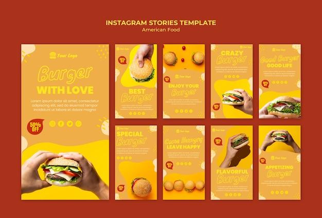 Storie di instagram di cibo americano