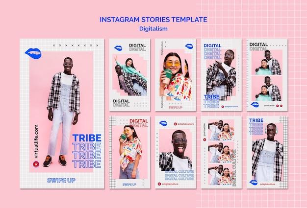 Storie di instagram di cultura digitale di giovane uomo e donna