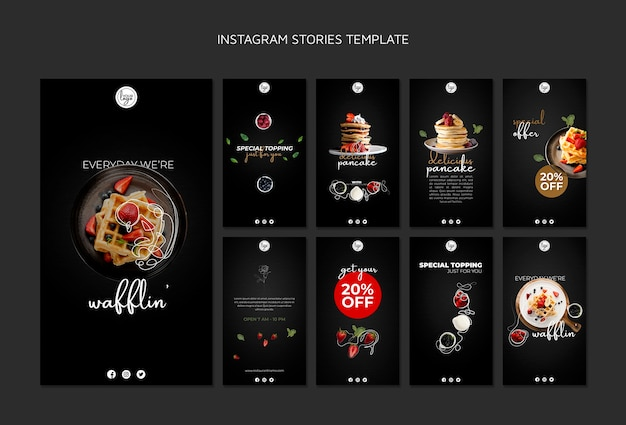 Storie di instagram di design del ristorante brunch