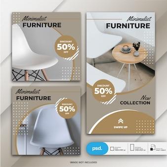 Storie di instagram e feed post bundle template di vendita di mobili