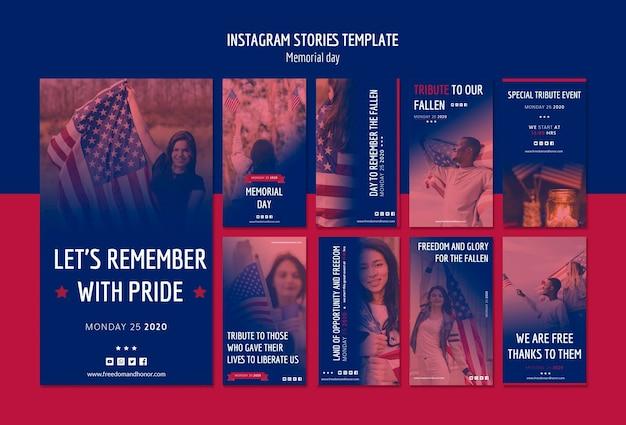 Storie di instagram per il memorial day