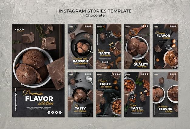 Storie instagram concetto di cioccolato