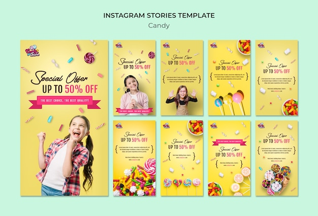 Storie instagram negozio di caramelle offerta speciale