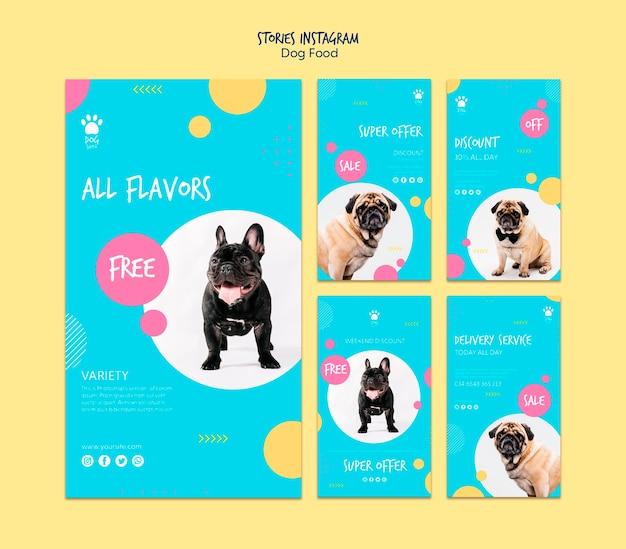 Storie per instagram con offerte di cibo per cani