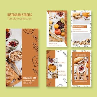 Stories de instagram para concepto de branding de restaurante