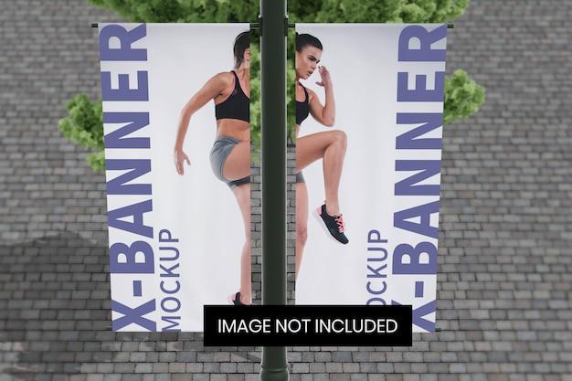 Straatpaal banner mockup boven vooraanzicht hoek