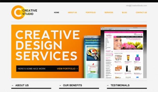 Strakke minimale website psd template