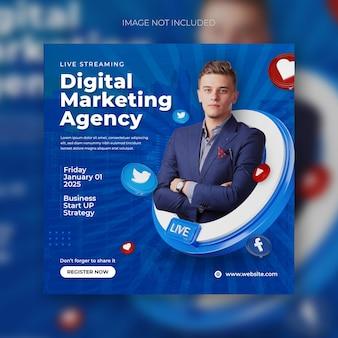 Strategieën voor digitale marketingbureaus en postbanne-sjabloon voor sociale media voor bedrijven