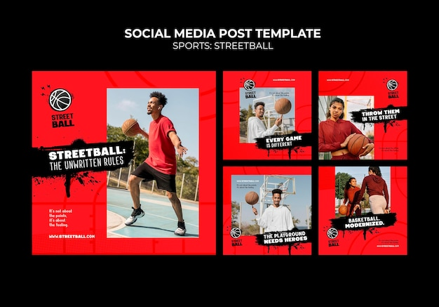 Streetball-postsjabloon voor sociale media