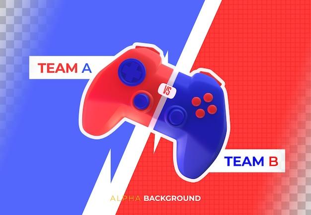 Strijd tussen gamerteams. 3d illustratie