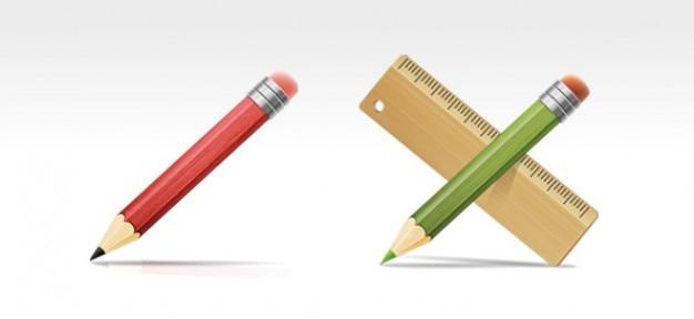 Strumenti di disegno e psd, matita e righello icone