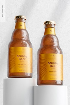 Stubby bierflessen mockup, perspectief