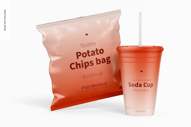 Stubby chips zak mockup met frisdrank