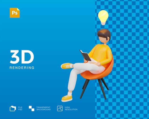 Student man karakter zoeken kennis onderwijs ontwerp