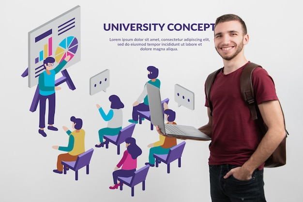 Studente maschio che presenta piattaforma online