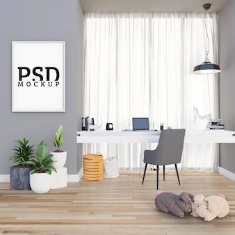 Studieruimte met grote deurkozijnen en fotolijst