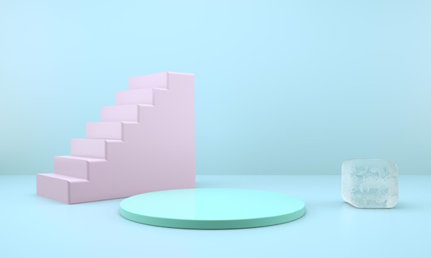 Studio met geometrische vormen, podium op de vloer, platforms voor productpresentatie