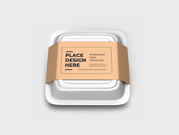 Styrofoam food box verpakking mockup design geïsoleerd