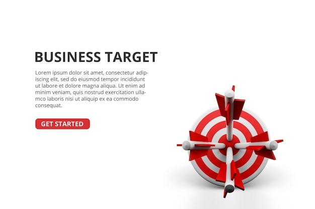 Succesvolle boogschietenpijl op 3d-concept van de bedrijfsdoelverwezenlijking van het doelbord