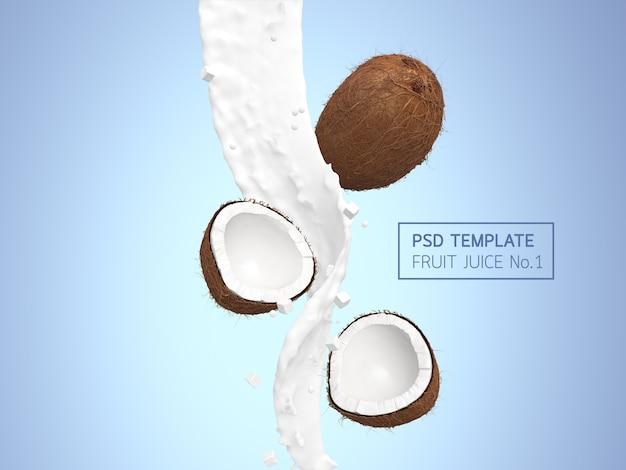 Succo di cocco e sfondo di noci di cocco
