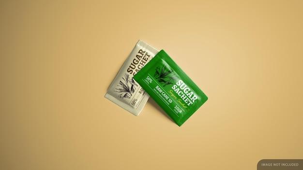 Sugar stevia sweetener sachet mockup design in 3d rendering