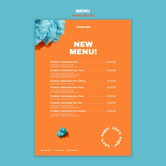 Suikerspin op stick restaurant menu afdruksjabloon