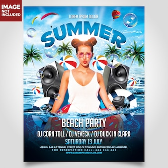 Summer beach party flyer sjabloon