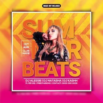Summer beats party flyer of social media post
