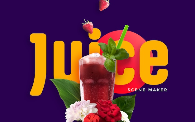 Summer custom scene con juice mockup