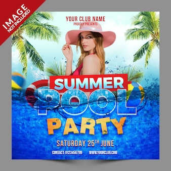 Summer pool party psd publicación en redes sociales