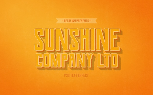 Sunshine co. vintage teksteffect mockup Premium Psd