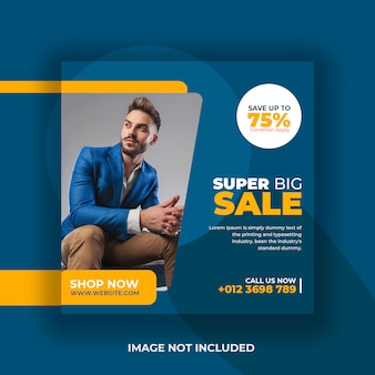 Super big sale promotie flyer social media post sjabloon